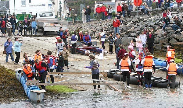 crowds at the harbour in Kyle of Lochalsh before the raft race 2007